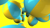 Colorful beach balls on yellow background.3D render animation. Стоковые видеозаписи