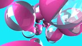 август : Pink beach balls on blue background Стоковые видеозаписи