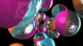 julho : Colorful beach balls on black background.Loop able 3D render animation. Stock Footage