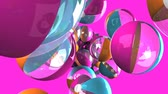 beach ball : Colorful beach balls on pink background.Loop able 3D render animation.