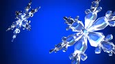 floco de neve : Clear snow crystals on blue backgorund.Loop able 3D render animation. Vídeos