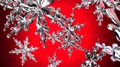 floco de neve : Clear snow crystals on red background.3D render animation. Vídeos