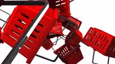 Red Shopping baskets on white background Stok Video