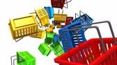 Shopping baskets on white background.Loop able 3D render animation. Stok Video