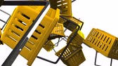 Yellow shopping baskets on white background