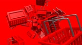 Red Shopping baskets on red background.Loop able 3D render animation.