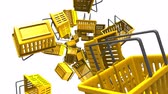 Yellow shopping baskets on white background.Loop able 3D render animation. Stok Video