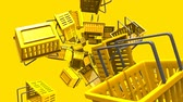 Yellow shopping baskets on yellow background.Loop able 3D render animation. Stok Video