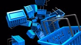 Blue Shopping baskets on black background.Loop able 3D render animation. Stok Video