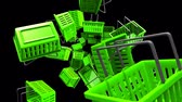 Green Shopping baskets on black background.Loop able 3D render animation.