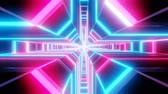 Blue pink cross shape tunnel abstract animation.  loopable Sci-fi abstract backdrop.