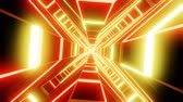 Red orange cross shape tunnel abstract animation.  loopable Sci-fi abstract backdrop. Stok Video