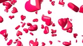 Falling pink heart objects in white background. Cute heart-shape abstract. Stok Video
