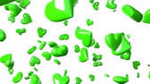 Falling green heart objects in white background. Cute heart-shape abstract animation. Stok Video
