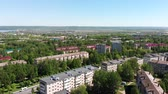 Novocheboksarsk city panorama, drone, Russia, Chuvashia, aerial view Stok Video