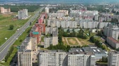 orta : Novocheboksarsk city panorama, drone, Russia, Chuvashia, aerial view Stok Video