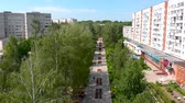 Town pedestrian walking street, Novocheboksarsk, Chuvashia Republic, Russia Stok Video
