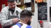 cabeleireiro : Handsome bearded man getting haircut by hairdresser at the barber shop.
