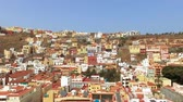 Aerial footage of San Sebastian de la Gomera cityscape, Canary islands, Spain.