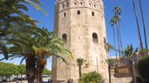 испанский : Torre del Oro Gold tower, famous landmark in Sevilla, Spain. Стоковые видеозаписи