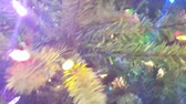 flare light : Christmas Lights on Tree with lens Flare Stock Footage