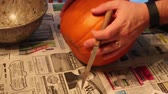 tomada : Man Carving Out Pumpkin Bottom Stock Footage
