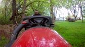 mowed : Getting Off Tractor To Dump Grass Cutting Stock Footage