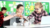 Two female pupils building model robotic car in science lesson