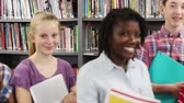 Portrait Of High School Students With Friends In Library Stock Footage
