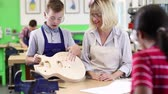 Female Teacher Helping Male High School Student Building Guitar In Woodwork Lesson Stock Footage