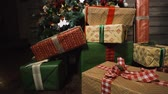 Close-up of decorated Christmas tree with gifts. Stock Footage