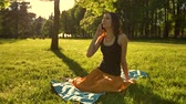discuss : Front view of a woman sit towards camera talk during a phone call outdoors in the park. Slo-mo static shot. Stock Footage