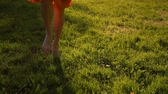 flor cabeça : Females feet running by grass in park. No face. Sunset or surise. Super slow motion. Middle skirt, slender legs, barefoot. Front view close-up.