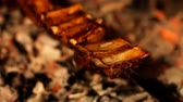 charbroiled : Juicy slices of ribs cooked in the grill Stock Footage