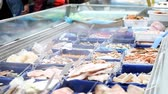 refrigerated : long counter refrigerator with seafood