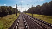 sleepers : time lapse railway, transportation, travel, view from a train car Stock Footage