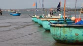 showplace : Tourist Vietnam .Traditional Fishing boats Stock Footage