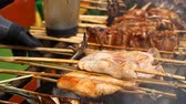 Asian grill on sticks Stock Footage