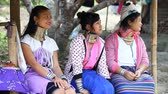 krk : Chiang Mai,Thailand-February 13 ,2017:Three young girls from the hill tribe The long-neck karen called themselves as Kayan living in Eco-Agricultural Hill Tribes Village - Baan Tong Luang
