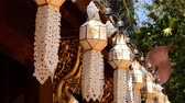 lanna : Asian tradition.Buddhism. Traditional northern Thai paper lanterns hanging in temple