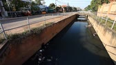kamboçyalı : Siam Reap, Cambodia - January 14, 2017: Pollution of water channels in the city with waste and garbage . The danger of the spread of dangerous viruses and microbes Stok Video
