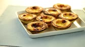 bakery : Pastel de nata, typical pastry from Lisbon - Portugal. Stock Footage