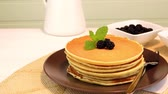 przetwory : Delicious golden pancakes with fresh blackberries and raspberry jam.