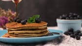 przetwory : Delicious golden pancakes with fresh blackberries.