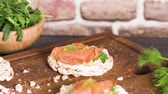 веточка : Delicious smoked salmon and cream cheese on rice bread toasts.