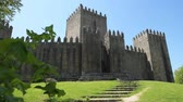 doğum : GUIMARAES, PORTUGAL - CIRCA APRIL 2018: The Castle of Guimaraes in the northern region of Portugal. It was built at the end of the 13th century following French influences.