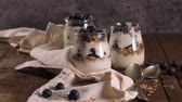 natural yogurt : Yogurt parfait with blueberry and granola. Healthy breakfast concept served in mason jar with decorative spoons on wooden table.
