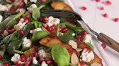 hams : Fresh vegetable salad with grilled peach, pomegranate, spinach and fresh cheese.