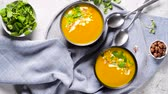 püresi : Healthy Pumpkin soup with cream and organic pumpkin seeds.