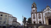 dao : VISEU, PORTUGAL - CIRCA FEBRUARY 2019: View at the Misericordia Church main entrance in Viseu. The origins of the city of Viseu date back to the Celtic period. Stock Footage